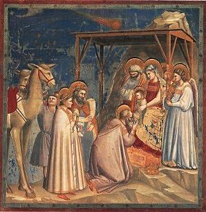 """Giotto """"Pokłon mędrców"""", kaplica Scrovegni, Padwa, ok. 1306-1309."""